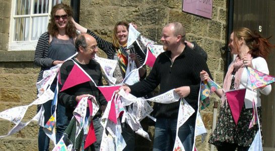 Bunting outside the King Street Workshops