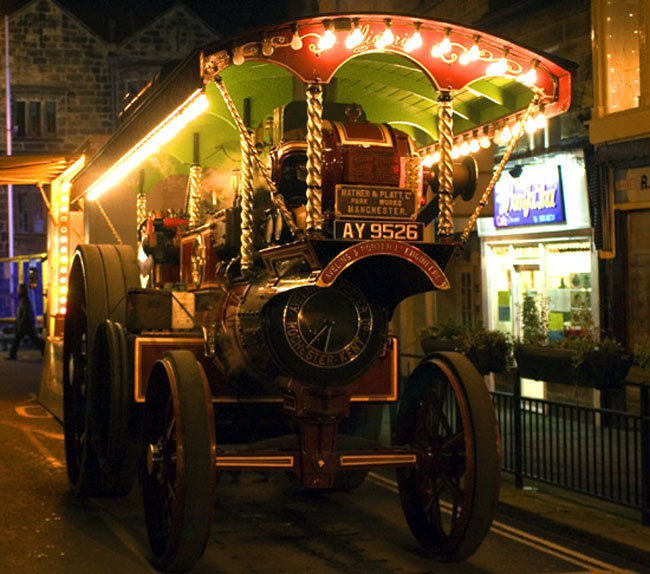 Traction engine at the Otley Victorian Fayre