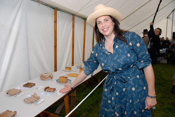 Kirstie tries her hand at making sausages - picture courtesy of the Nidderdale Show
