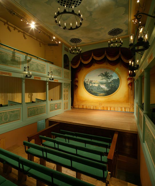 The Georgian Theatre Royal's stage viewed from the pit - photo courtesy of the Georgian Theatre Royal