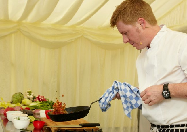 Anthony Gillham giving a demonstration at the Malton Food Lovers Festival - photo  Simon Hylton and courtesy of the Malton Food Lovers Festival