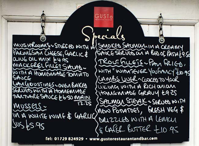 The specials board at Gusto  Chris Jones/Bow House Ltd