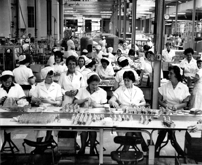 Yorkshire People at Work - workers involved in eau de cologne manufacture at the Gibbs Pepsodent Factory, Leeds, October 1963 - courtesy Yorkshire Post/Amberley Publishing