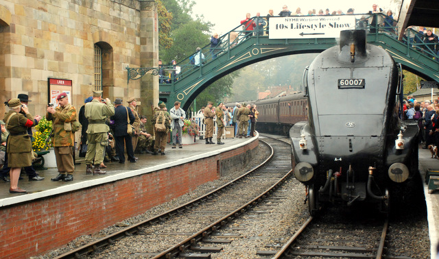 The fabulous Sir Nigel Gresley arrives at Pickering Station