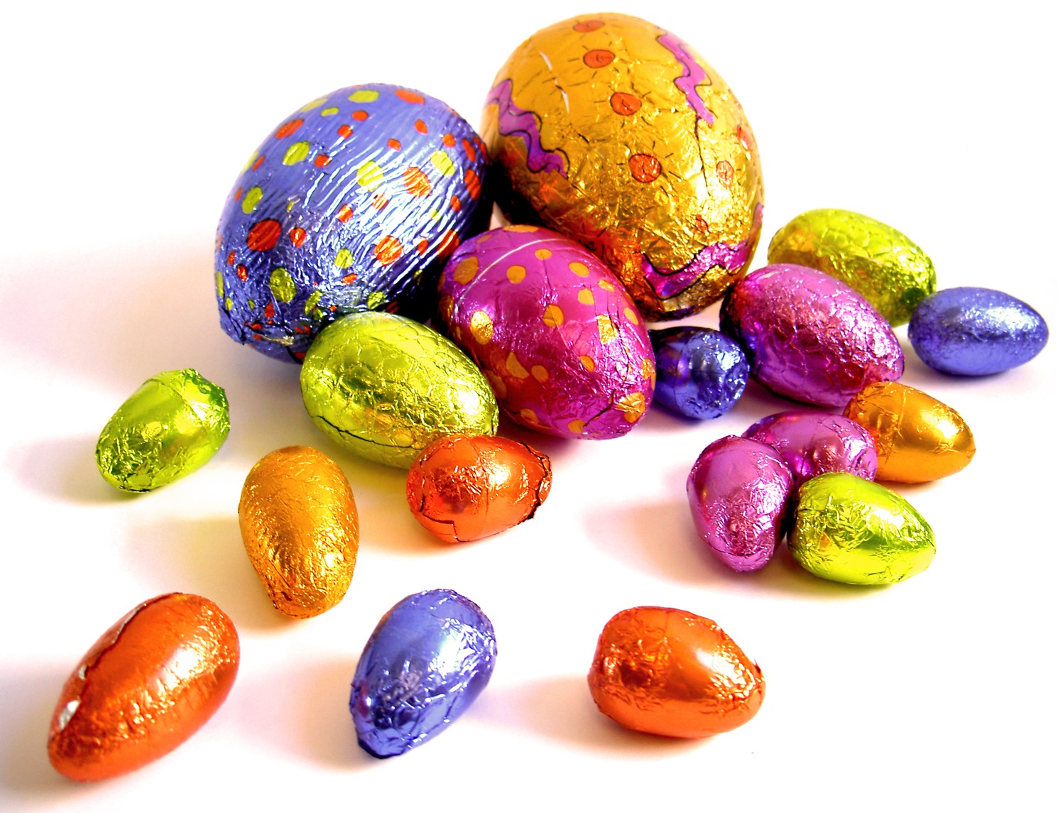 Easter - chocolate eggs in foil