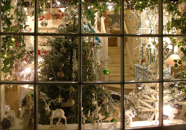 Dickensian Christmas shop window in Grassington