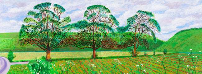 Three Trees Near Thixendale, Spring 2008 - Press Association © David Hockney