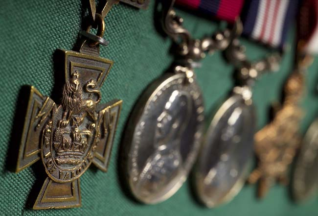 A Victoria Cross and other medals on display at the Green Howards Museum, Richmond - courtesy GHM