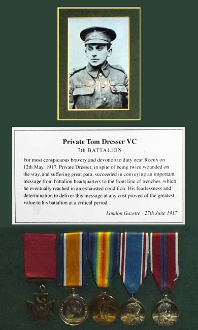 Private Tom Dresser from Huby, near Easingwold. Pte Dresser whilst wounded twice and in spite of  great pain conveyed a vital message from battalion HQ to the front line - photo of display in GHM © Chris Jones/Bow House Ltd