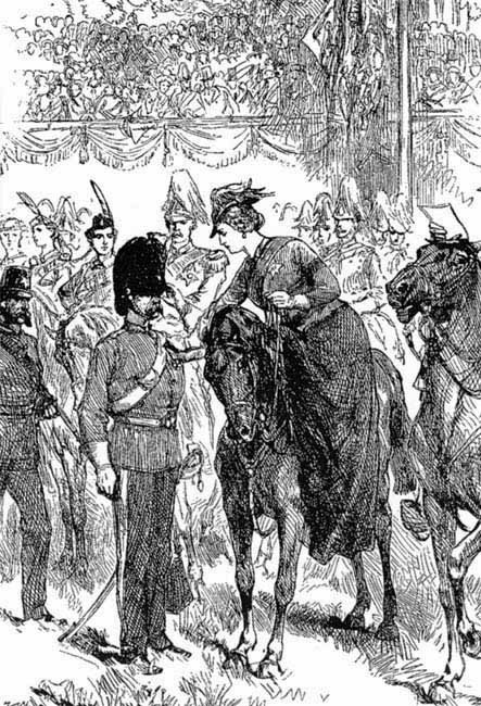 Queen Victoria leaning over to pin a VC on, at the first investiture in 1857 - courtesy of Pen & Sword