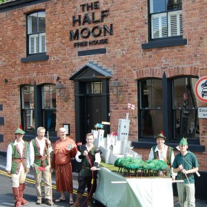 Standing outside the Half Moon pub in fancy dress