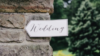 sign pointing guests towards to location of their friends who are getting married in north yorkshire