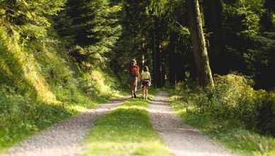 two people on a woodland walk as part of the things to do in Yorkshire this bank holiday