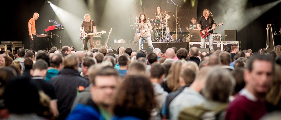 crowd and band at a on of the music events in Yorkshire in July