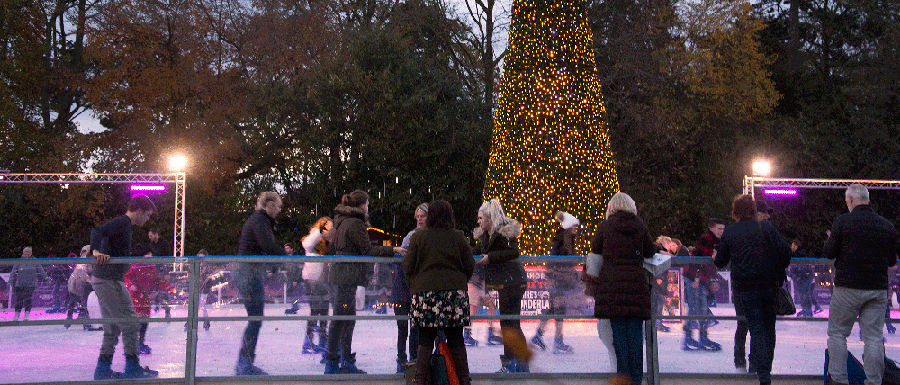 Ice skaters at a Christmas market in York