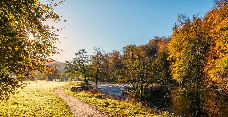 walk along the River Wharfe in Yorkshire during the autumn