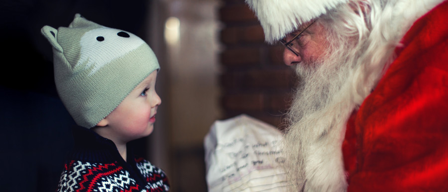 Child with Santa for Christmas in Yorkshire