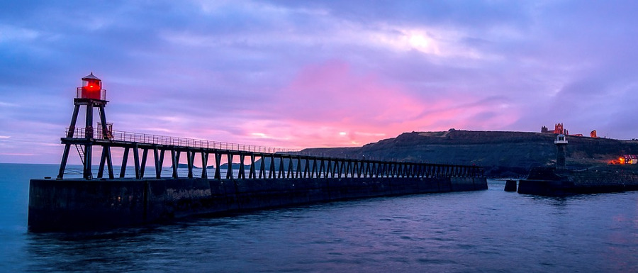 whitby east pier hosting fireworks as part of new year's eve events in Yorkshire