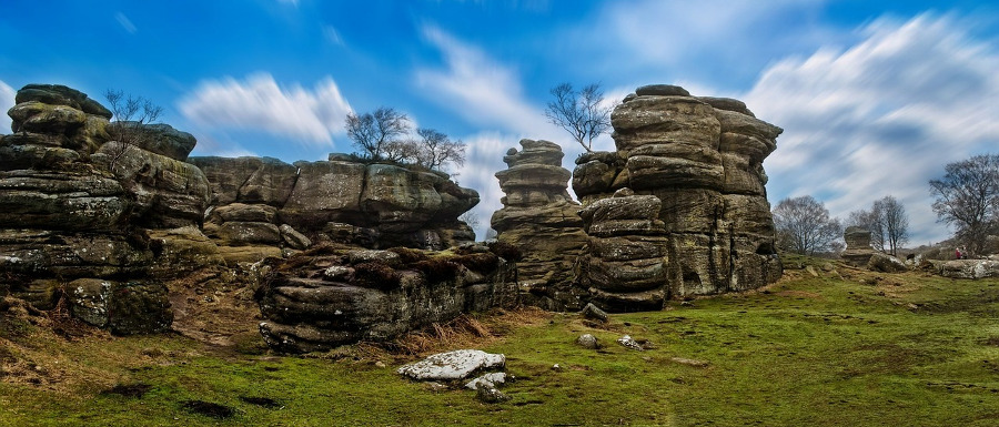 Brimham Rocks with a clear blue sky