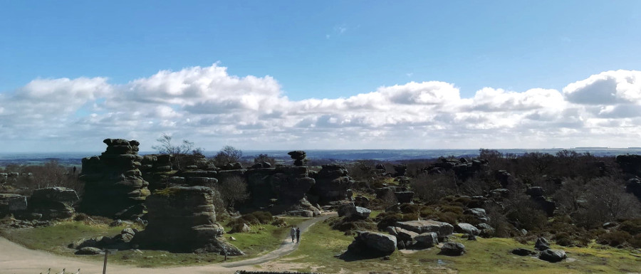 view of Brimham Rocks from the visitor centre