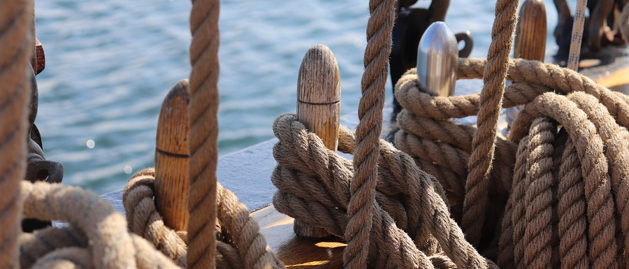 ropes on a sailing vessel in Scarborough
