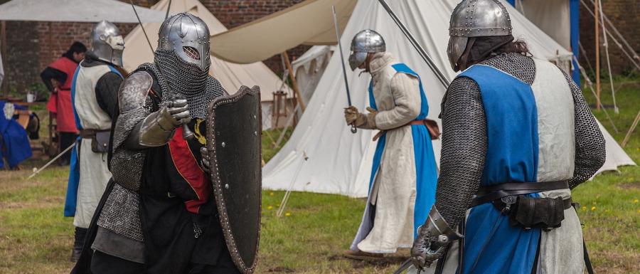 knights fighting at Skipton Castle