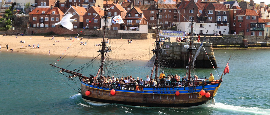 Whitby pirate ship full of tourists