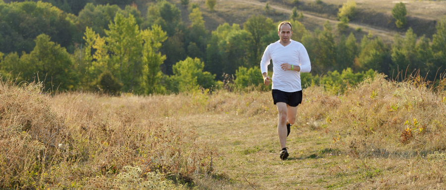 man running in the countryside