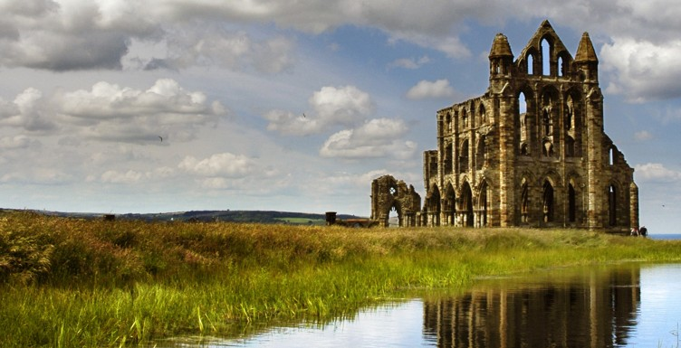 Whitby Abbey and reflection in water
