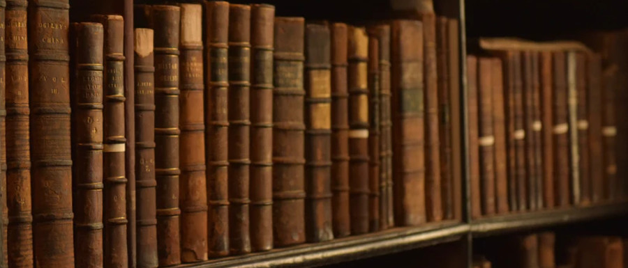 books in a library from York ghost stories