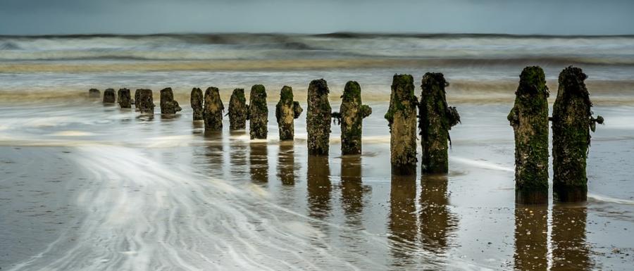 wave breakers on Sandsend beach