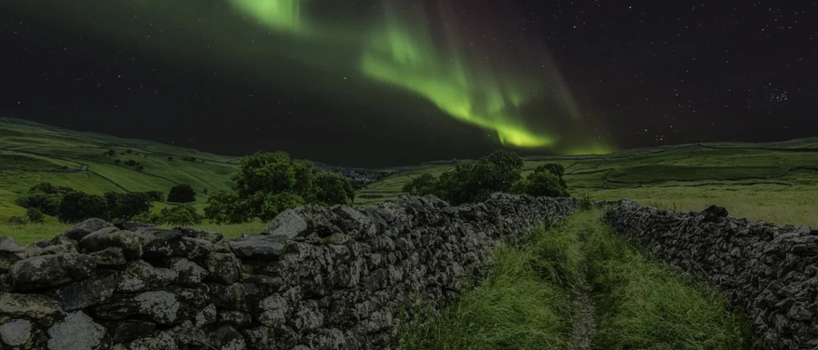 northern lights over the Yorkshire Dales