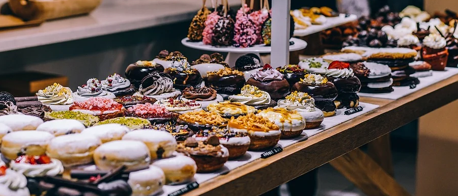 cakes on a market stall in North Yorkshire