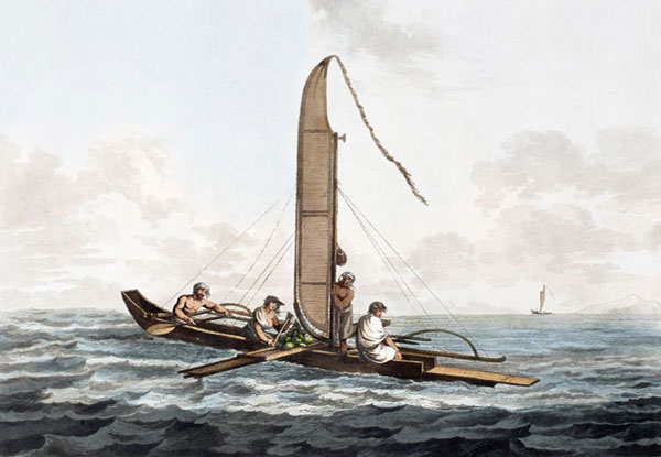 art work of early human sea voyages