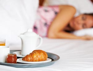 Breakfast in bed at a Yorkshire hotel